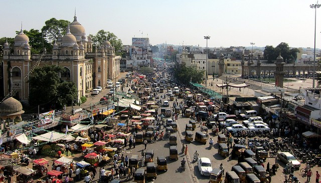 Traffic jam Driving in India Hyderabad